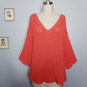 Free people coral bell sleeve v neck sweater